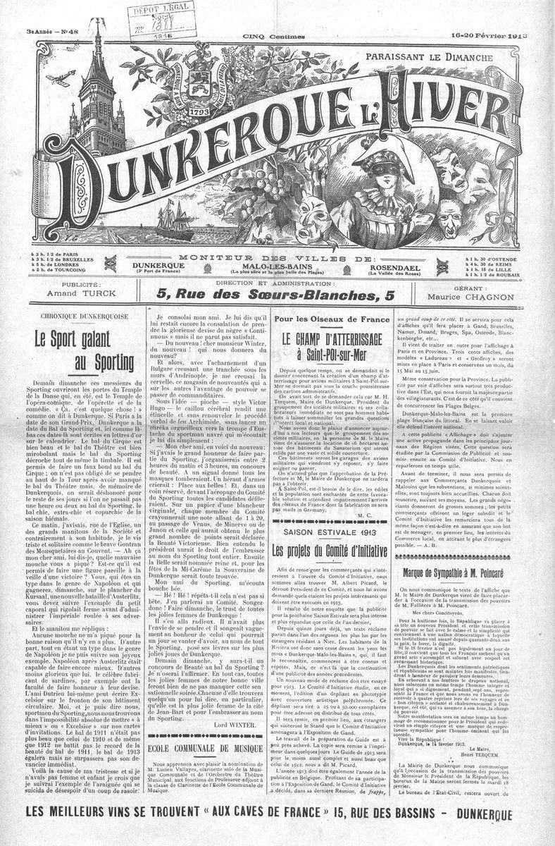 Journal Dunkerque l'Hiver 1911 à 1914