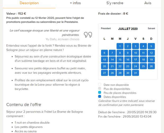 Captures d'écran du site internet de Loisirs Enchères - tous droits réservés