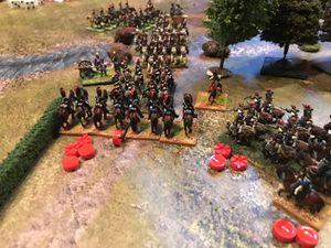 charge , contre charge, les cuirassiers français ne font qu'une bouchée de la cavalerie anglaise.... la bataille reprend dans le champ de blé