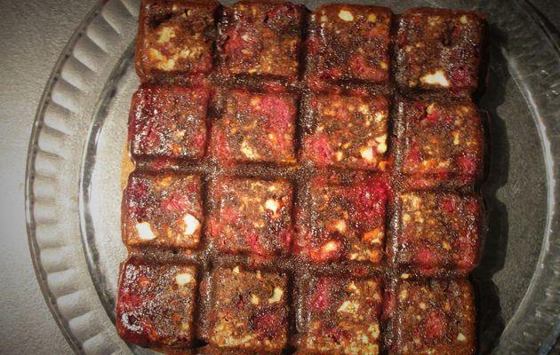Brownie chocolat noir framboise amandes
