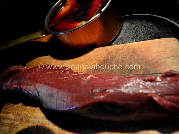 Filet de Chevreuil & Poire Pochée au Cornalin