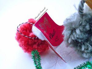 Carte - Noël - 2017 - Bottes - Facile - Coton - Fourrure - Pompon - Etiquette - Cadeaux