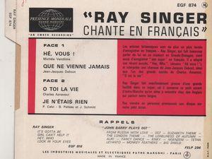 ray singer, un chanteur britannique des années 1960 avec une période française qui deviendra producteur de disques