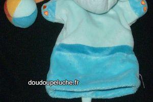 Doudou éléphant marionnette avec petit ballon, bleu orange, Pommette