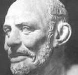 Dans l'ordre: Thalès, Anaximandre, Anaximène, Leucippe, Héraclite, Démocrite, Diogène et Anaxagore.