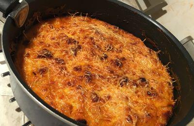 Gratin de chou fleur, pommes de terres au chorizo et curry rouge