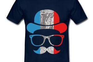 T shirt bleu marine pour hommes Tonton BBR en bleu blanc rouge