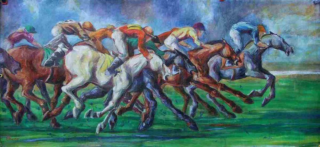 Les tableaux fondateurs de mes débuts de peintre. Manifestations, explosions et hennissements des chevaux le tout sur de grand formats (jusqu'à 4 m.)  (Bruits et Fureur/Sturm und Drang).