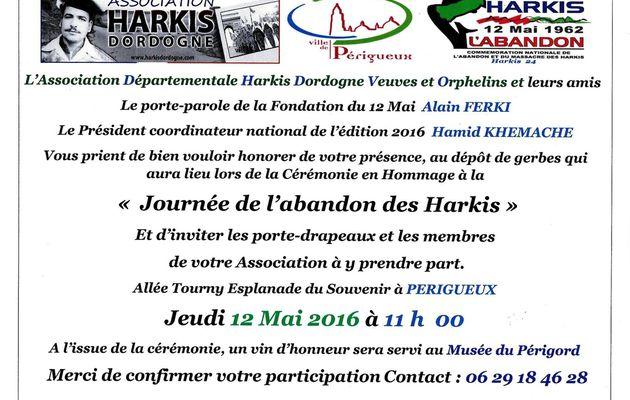 Cérémonie abandon des harkis jeudi 12 mai à Périgueux