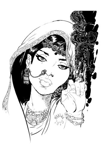 #inktober indian lady dessin illustration sari