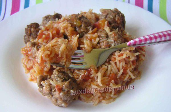 boulettes veau et bœuf au riz à la tomate