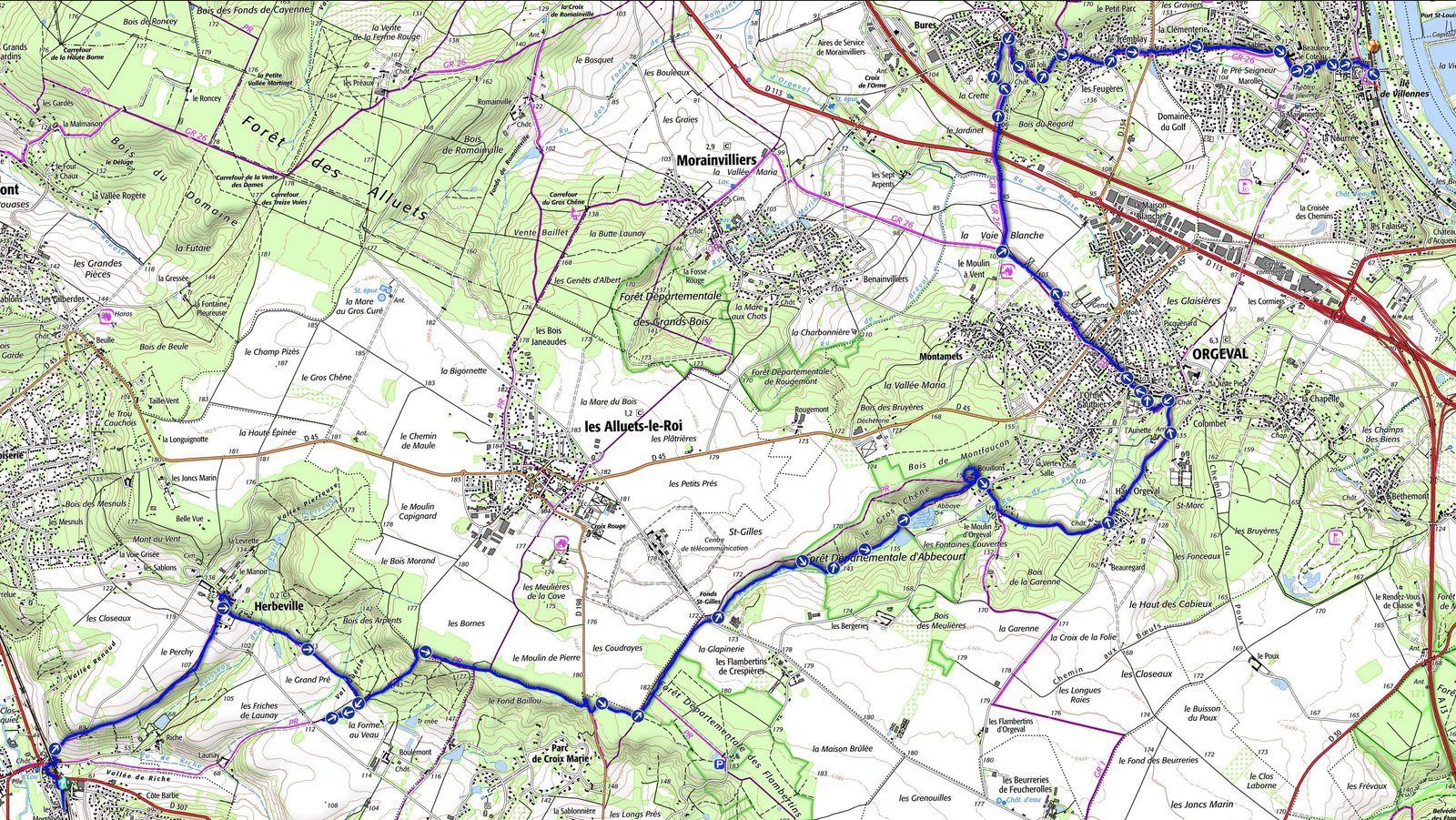 Randonnée de Mareil-sur-Mauldre à Villennes-sur-Seine, 19,7 km.