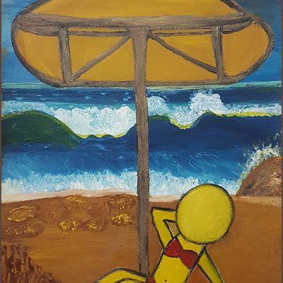 Peinture à l'huile sur papier par Fathia NASR - Du Soleil Plein La Tête