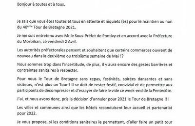 TOUR DE BRETAGNE REPORTE EN 2022