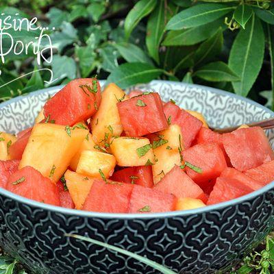 Salade de melon et pastèque au Rhum et vanille