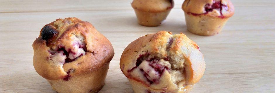 Muffins framboises, chocolat blanc