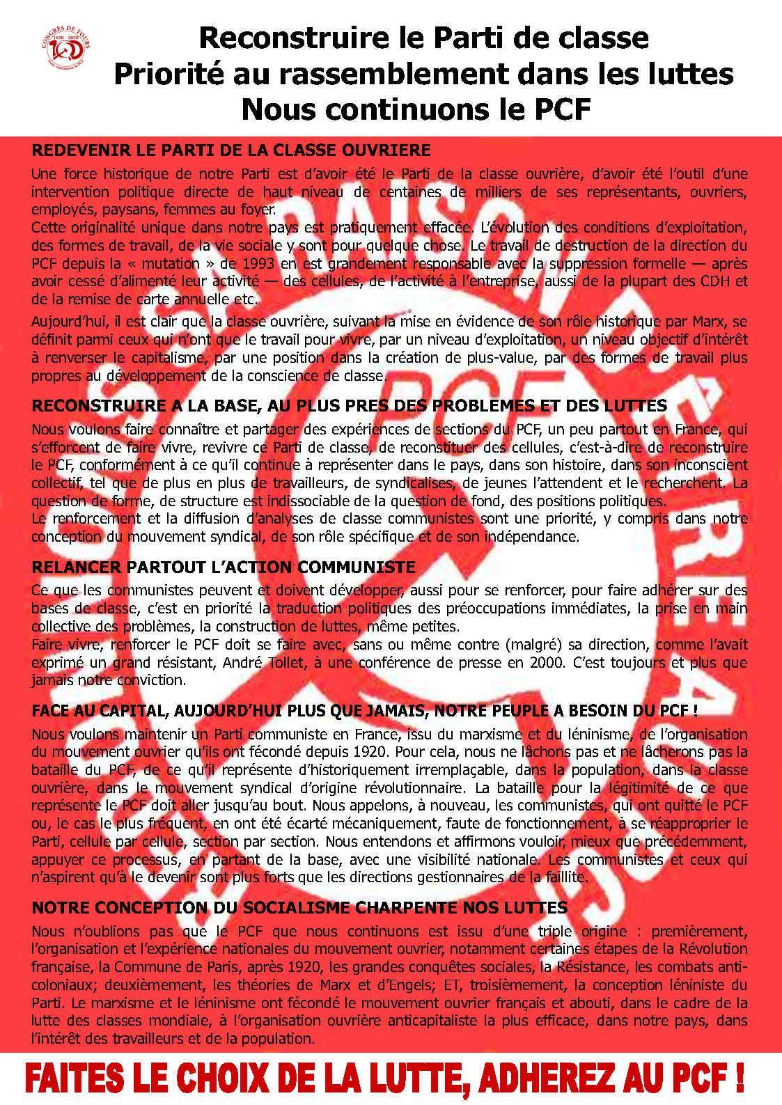 1920 - 2020. Congrès de Tours. 100 ans de lutte anticapitaliste - 20