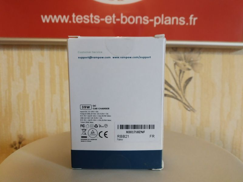 unboxing du chargeur allume cigare 2 ports USB  39 Watts à technologie Quick Charge 3.0 - RAMPOW RBB21 @ Tests et Bons Plans