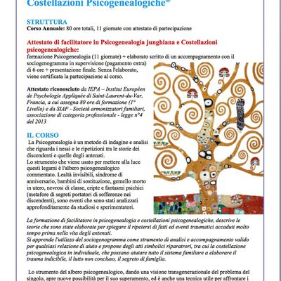 MARZO 2019 Torino, formazione Psicogenealogia junghiana e Costellazioni psicogenealogiche