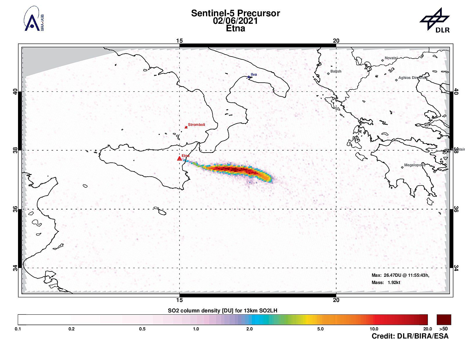 Etna - strong plume of sulfur dioxide with 24.71DU of SO2 at an altitude of ~ 12km on 06/02/2021 - Sentinel-5P tropomi / DLR / BIRA / ESA