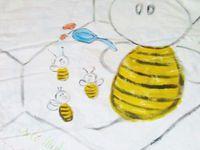 disegni su tela 1.00m X 0,50m, usati come lavagna per descrivere la vita delle api...e problemi