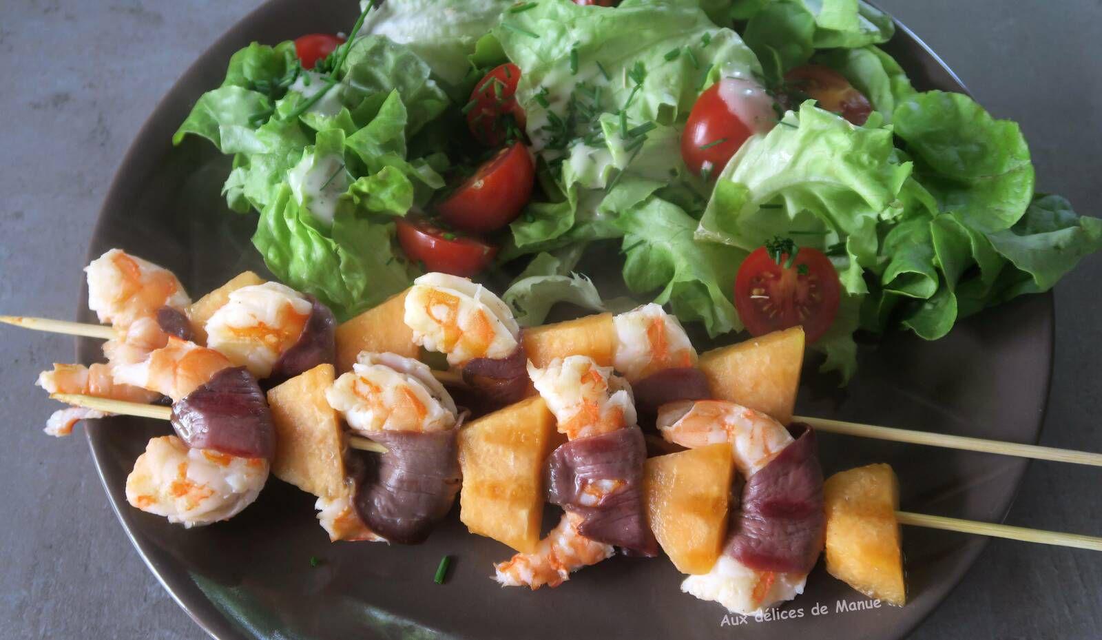 brochette,plancha,grill,crevettes,melon,magret