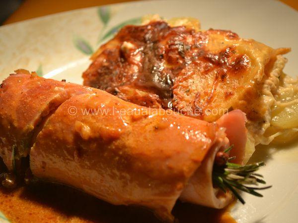 Jambon Rôti à l'Os Sauce Madère & Gratin de Pommes de Terre