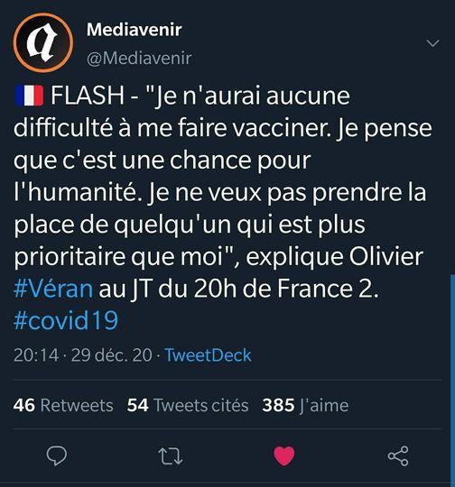 #FRANCE - #Coronavirus : Extension du #couvre-feu, campagne de #vaccination... Que faut-il retenir de l'interview d'Olivier #Véran du 29/12 ?
