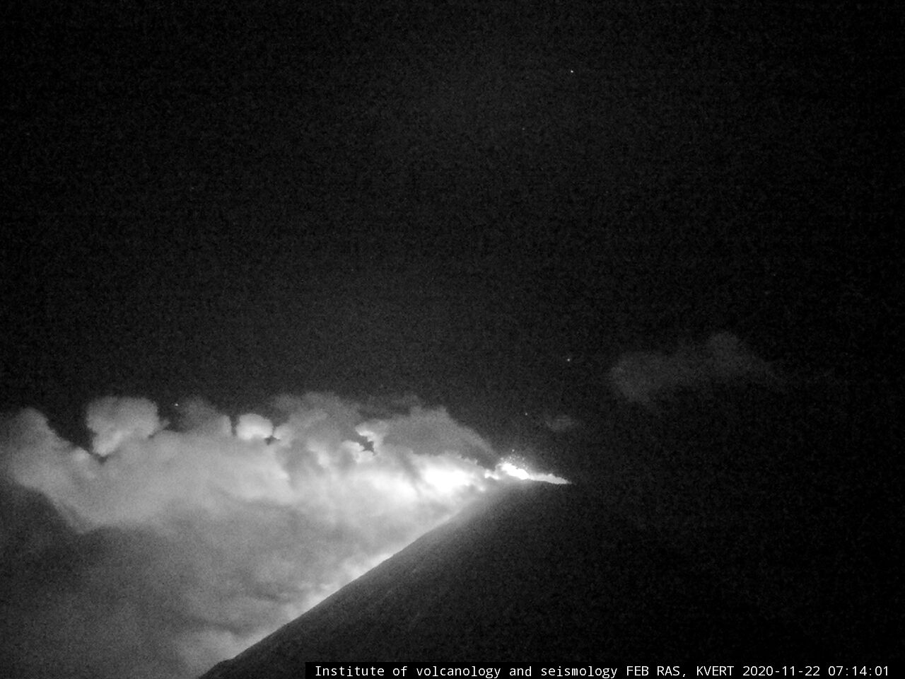 Klyuchevskoy de la staion volcanologique de Kliuchi - 22.11.2020  / 07h14 - webcam IVS FEB RAS , KVERT