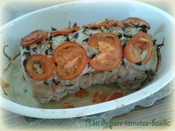Rôti de porc tomates-basilic au four