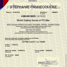 Et voila nous sommes certifiés World Sailing Survie et PS Mer