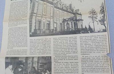 Nogent-le-Roi. Le château a failli brûler pendant la vente. Février 1978.
