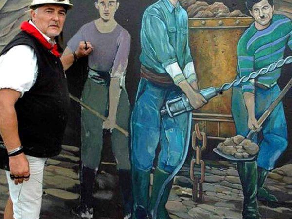 Restauration de la fresque par Greg GAWRA à Algrange en 2010 (août)
