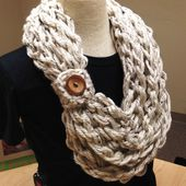 Quick and Easy Crochet Pattern Hand Crochet Bulky Rope Scarf with Button Instant Digital Download - $3.50 USD