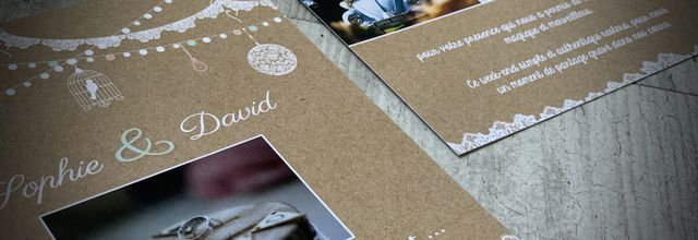 La carte de remerciements assortie au faire part de mariage de Sophie & David ... thème champêtre chic, bucolique