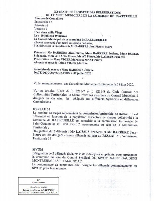 Razecueille délibération 10 juillet 2020 délégués divers syndicats et commissions
