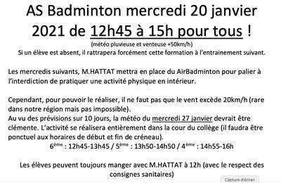 Entrainement/Formation le mercredi 20 janvier 2021 de 12h45 à 15h pour tous !