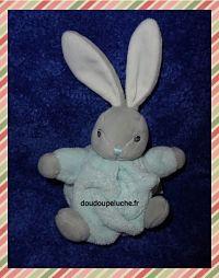 Mini doudou lapin, Kaloo plume, bleu aqua gris blanc, velours, www.doudoupeluche.fr