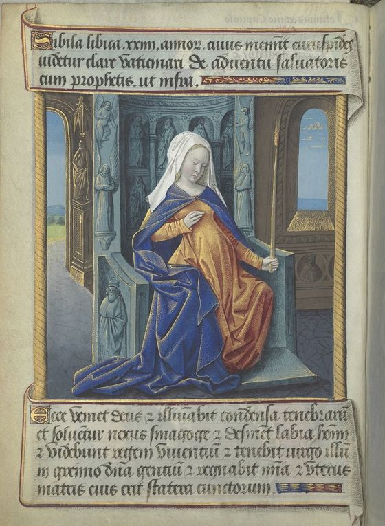 La Sibylle Lybique  de Baldini, Barbieri, des Heures de Louis de Laval (avec la page de typologie en regard), et Léonard Limosin vers 1535.