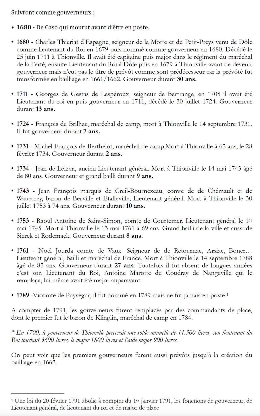 1643 - 1789   ++ Les gouverneurs de Thionville et leur résidence