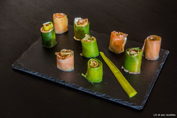 Maki de poireaux au saumon