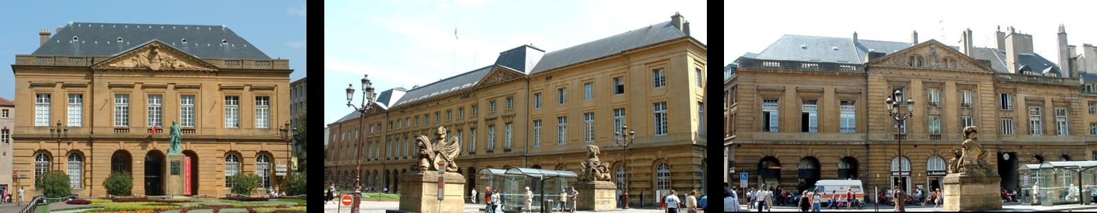 Place d'Armes : Corps de garde (achevé en 1771), Hôtel de ville (achevé en 1788), Parlement.
