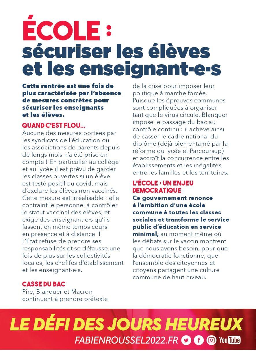 Brest: le PCF appelle à manifester avec les personnels de l'Education ce 23 septembre à l'occasion de la journée de grève et de mobilisation intersyndicale dans l'Education Nationale