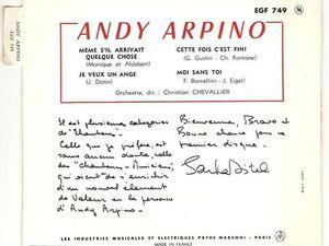 """Andy arpino, un chanteur et batteur français qui se révéla avec le 45 tours """"même s'il arrivait quelque chose"""""""