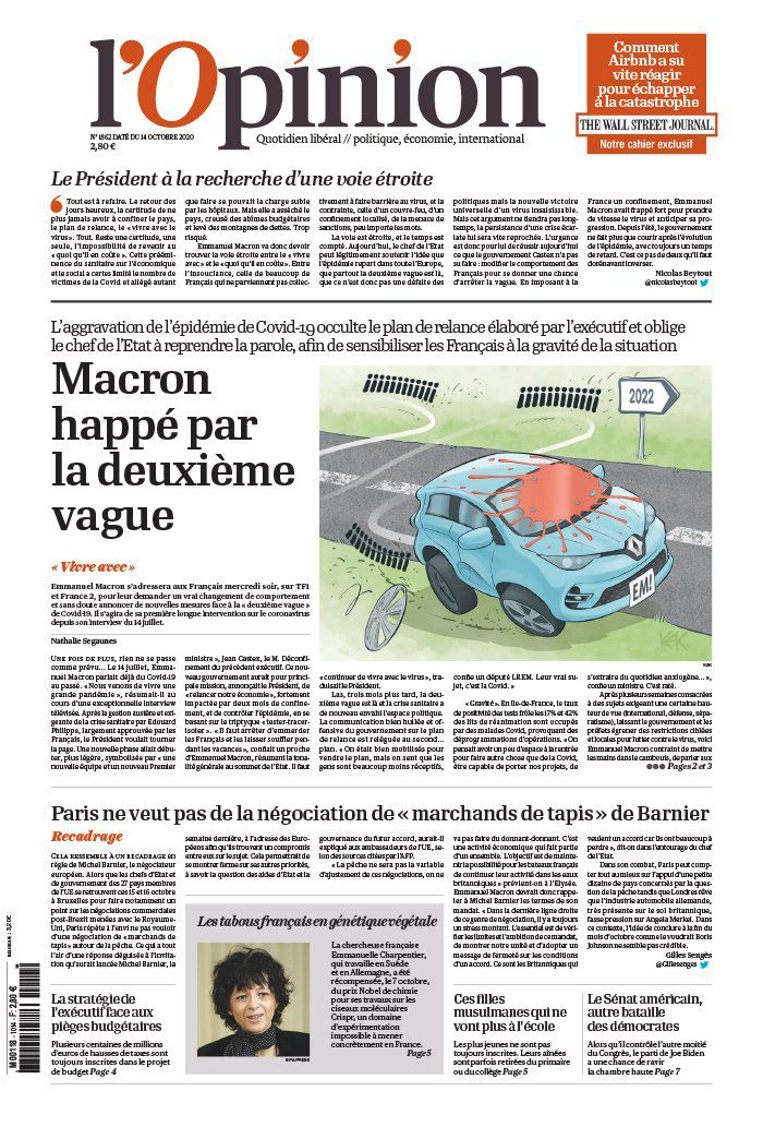 La UNE de la presse quotidienne nationale ce mercredi 14 octobre.