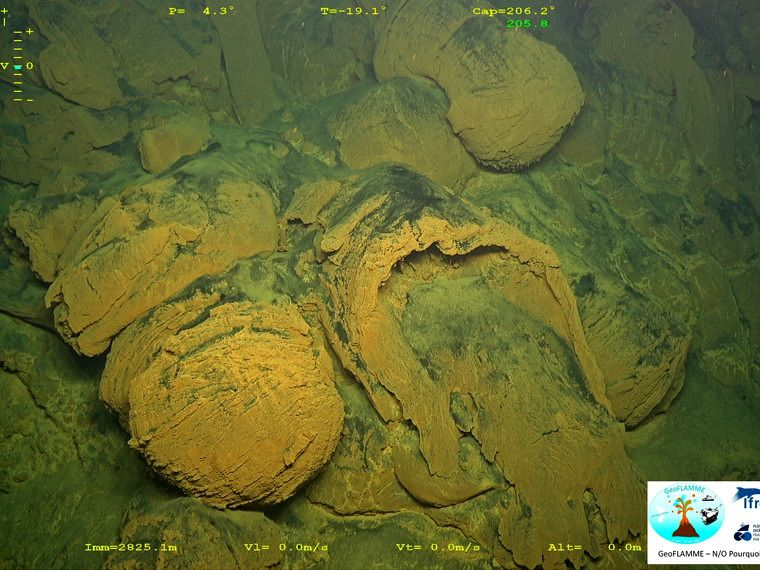 Mayotte submarine volcano - shaped, fractured and emptied cushion lava - GeoFLAMME campaign 17.04.-25.05.2021