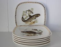Lot de 6 assiettes Poisson Longchamp Vintage