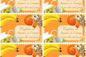 Etiquettes confiture ~Bananes à l'orange et thé earl grey~