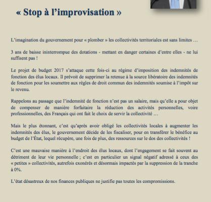 Stop à l'improvisation : fiscalisation des indemnités des élus