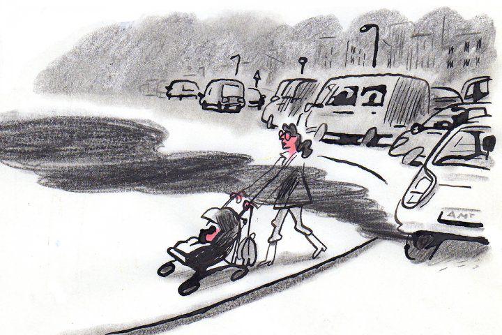 dessin de  Cécile Guillard : Pourquoi les poussettes pile à la portée des pots d'échappements ?... « Les enfants, premières victimes de la pollution de l'air »…tout parait donc entrepris afin de réduire leurs chances de survie ?…Rappelons que, en 2020, la mortalité par …pollutions de l'air a largement dépassé les morts Covid en Europe…Même pour les si certifiés égoïstes qui ne veulent pas le savoir